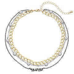 Mudd® Tri Tone 'Hustle' Multi Strand Choker Necklace