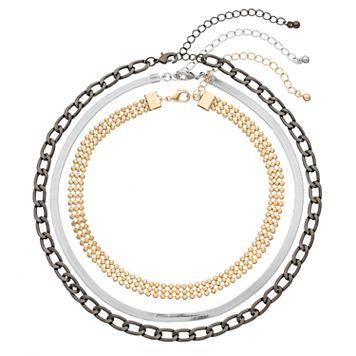 Mudd® Beaded, Herringbone & Chain Necklace Set