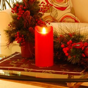 LumaBase Flameless Flicker Red LED Pillar Candle