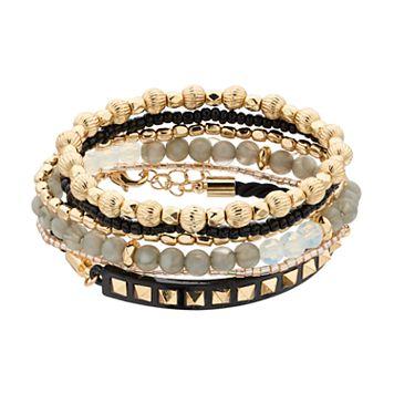 Mudd® Slipknot & Beaded Stretch Bracelet Set