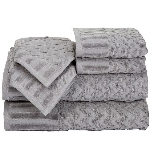 Bath Towel Sets Black And White: Portsmouth Home Chevron 6-piece Bath Towel Set