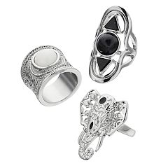 Mudd® Openwork Elephant & Geometric Shield Ring Set