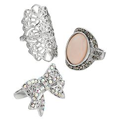 Mudd® Bow, Filigree & Oval Cabochon Ring Set