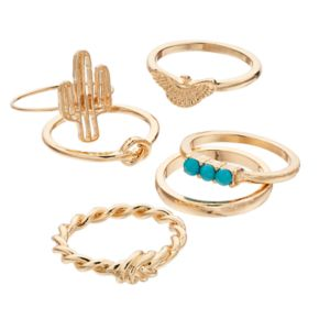 Mudd® Cactus, Bird & Knot Ring Set