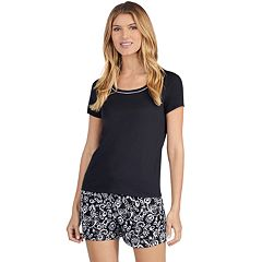 Women's Jockey Pajamas: Short Sleeve Tee & Boxer Shorts 2-Piece PJ Set