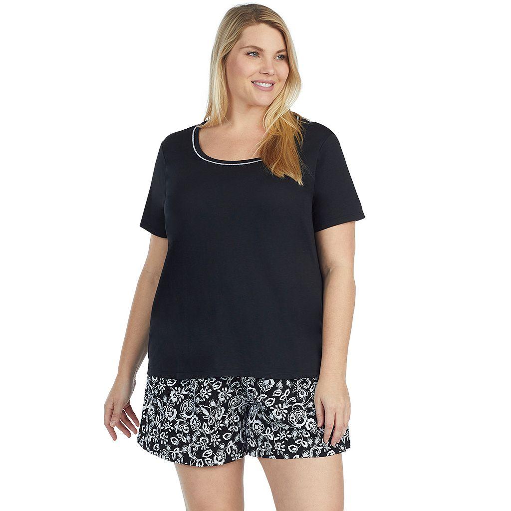 Plus Size Jockey Pajamas: Short Sleeve Tee & Boxer Shorts 2-Piece PJ Set