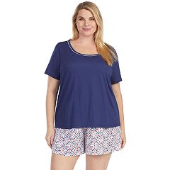 Plus Size Jockey Pajamas: Short Sleeve Tee & Boxer Shorts 2-Piece PJ Set