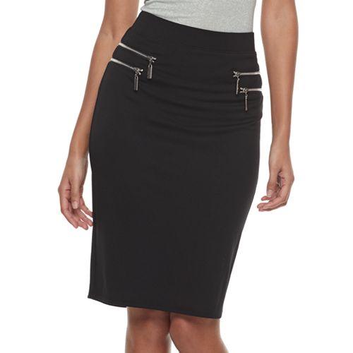 Women's Jennifer Lopez Zipper Accent Ponte Skirt