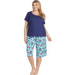 Plus Size Jockey Pajamas: Short Sleeve Tee & Skimmer Capris 2 pc PJ Set