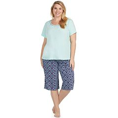 Plus Size Jockey Pajamas: Short Sleeve Tee & Skimmer Capris 2-Piece PJ Set