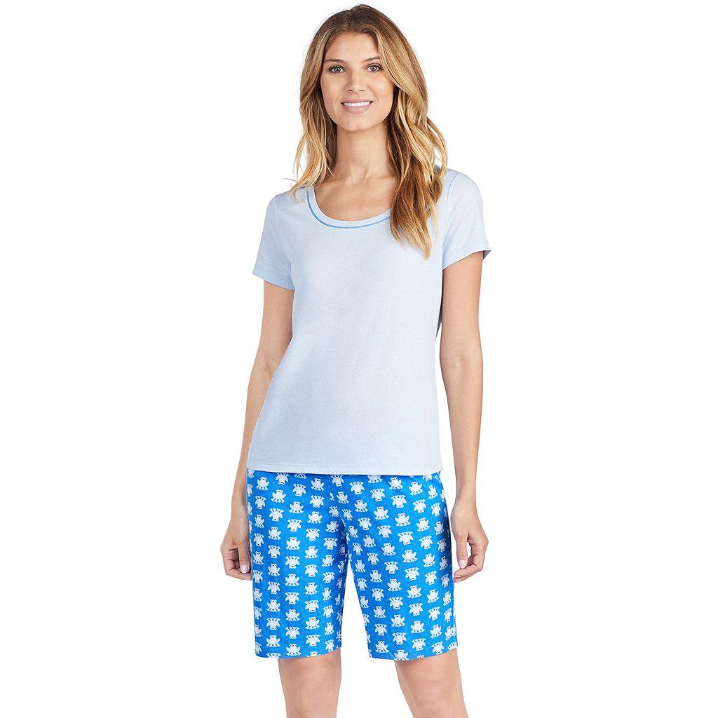Women's Jockey Pajamas: Short Sleeve Tee & Bermuda Shorts 2-Piece PJ Set