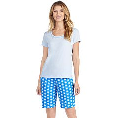 Women's Jockey Pajamas: Short Sleeve Tee & Bermuda Shorts 2-Piece PJ Set