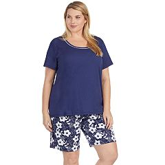 Plus Size Jockey Pajamas: Short Sleeve Tee & Bermuda Shorts 2-Piece PJ Set