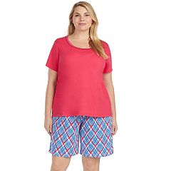 Plus Size Jockey Pajamas: Short Sleeve Tee & Bermuda Shorts 2 pc PJ Set