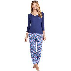 Women's Jockey Pajamas: V-Neck Top & Pants 2 pc PJ Set