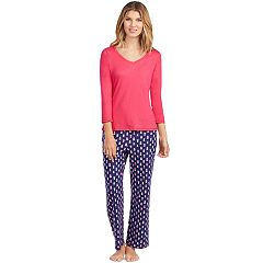 Women's Jockey Pajamas: V-Neck Top & Pants 2 pc PJ Set