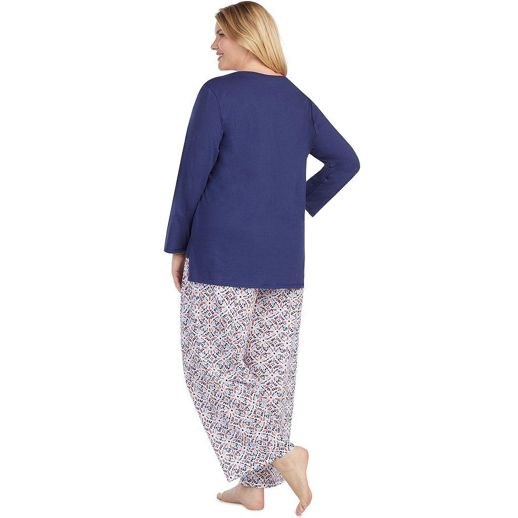 Plus Size Jockey Pajamas: Long Sleeve Top & Pants 2-Piece PJ Set