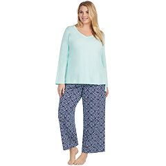 Plus Size Jockey Pajamas: Long Sleeve Top & Pants 2-Piece PJ Set