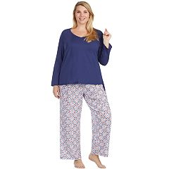 Plus Size Jockey Pajamas: Long Sleeve Top & Pants 2 pc PJ Set