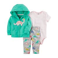 Baby Girl Carter's Dinosaur Hooded Cardigan, Striped Bodysuit & Dino Leggings Set