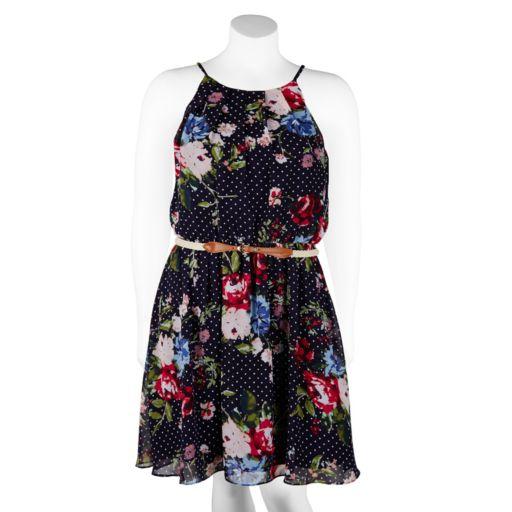 Juniors' Plus Size IZ Byer Belted Floral Halter Skater Dress