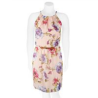 Juniors' Plus Size IZ Byer Belted Floral Halter Skater Dress
