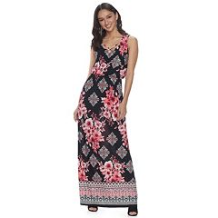 Juniors' Three Pink Hearts Cross-Front Maxi Dress