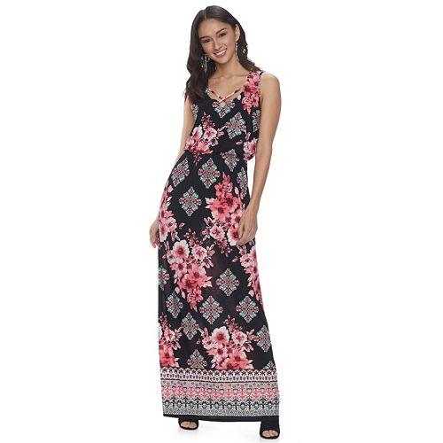 d08953fd0bd1 Juniors  Three Pink Hearts Cross-Front Maxi Dress