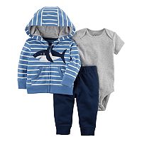 Baby Boy Carter's Shark Hooded Cardigan, Bodysuit & Pants Set