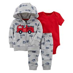 Baby Boy Carter's Solid Bodysuit, Fire Truck Hooded Cardigan & Pants Set