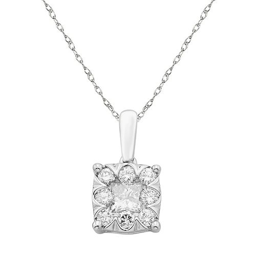 Boston Bay Diamonds 10k White Gold 1/2 Carat T.W. Diamond Square Cluster Pendant Necklace