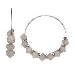 Simply Vera Vera Wang Beaded Nickel Free Threader Hoop Earrings