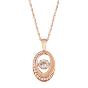 Boston Bay Diamonds 10k Rose Gold 1/10 ct. T.W. Diamond & Morganite Floating Stone Oval Pendant