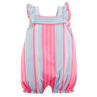 Baby Girl Carter's Striped Pom-Trim Romper