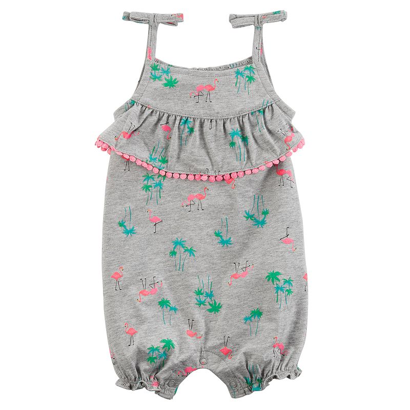 Baby Girl Carter's Flamingo Ruffle Romper, Size: 18 Months, Light Grey