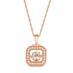 Boston Bay Diamonds 10k Rose Gold 1/8 ctT.W. Diamond Morganite Floating Stone Square Pendant