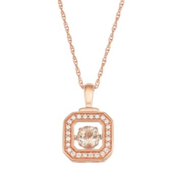 Boston Bay Diamonds 10k Rose Gold 1/8 ct. T.W. Diamond Morganite Floating Stone Square Pendant