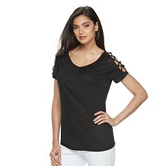 Women's Jennifer Lopez Strappy Cold-Shoulder Tee