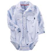 Baby Boy OshKosh B'gosh® 'Sky's the Limit' Airplane Pattern Button-Front Bodysuit