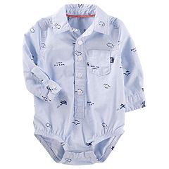 Baby Boy OshKosh B'gosh® 'Sky's the Limit' Airplane Pattern Button-Front Bodysuit