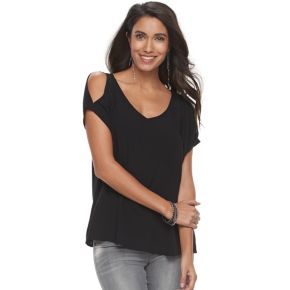 Women's Rock & Republic® Cold-Shoulder Crepe Tee