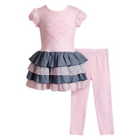 Girls 4-6x Youngland Heart Ruffled Dress & Leggings Set