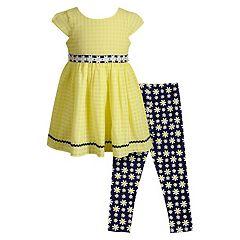 Girls 4-6x Youngland Chiffon Dress & Daisy Print Leggings Set