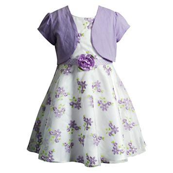 Girls 4-6x Youngland Organza Floral Dress & Shrug Set