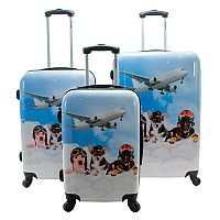 Chariot Novelty Print 3 pc Hardside Spinner Luggage Set