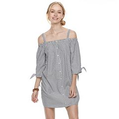 Juniors' Almost Famous Off-the-Shoulder Pinstripe Dress