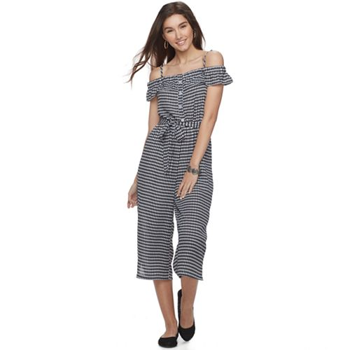 Juniors' Almost Famous Checked Ruffle Jumpsuit