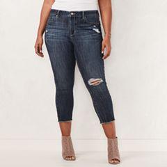 Plus Size LC Lauren Conrad Distressed Capri Skinny Jeans