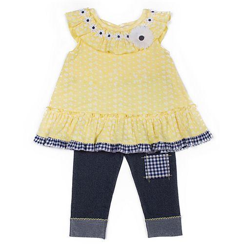 Girls 4-6x Little Lass Daisy Top & Capri Jeggings Set