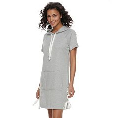 Juniors' Almost Famous Lace-Up Hooded Dress
